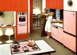 1961 Hotpoint Pink And Dark Coral Kitchen