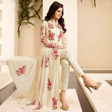 Drashti Dhami Georgette Cream Floral Print Semi Stitched Pant Style