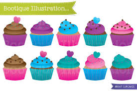 Cupcakes Clipart Set Bright Cup Cakes Clip Art Bright Cupcake Clipart Colorful Cupcakes Clip Art Cupcakes Vectors Birthday Clipart