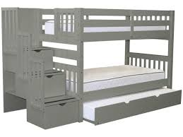 Bunk Beds Twin Stairway Gray Trundle $812