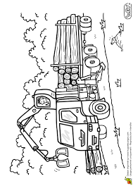 Coloriage Dun Véhicule Le Camion Transporteur De Bois