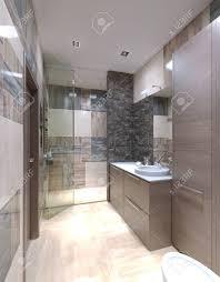 badezimmer modern mixed ziegel wände hellbraune möbel schrank mit glänzend weißen arbeitsplatte 3d übertragen