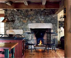 Farmhouse Fireplace Living Room With Country Kitchen Wood Beams Stone Chimney