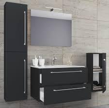 vcm 5 tlg waschplatz badmöbel badezimmer set waschtisch waschbecken schubladen keramik badinos spiegel breite 80 cm schwarz