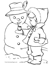 Girl With Snowman Winter Coloring Pages