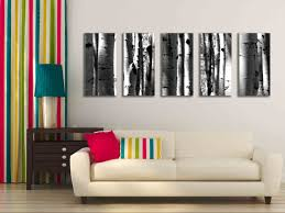 Wall Mural Decals Nature by Five Multi Panel 10x20 Inch Canvas Print Black And White Aspen
