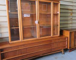 2 Piece Mid Century Modern China Cabinet Hutch Buffet Curved Credenza By Young Mfg Co