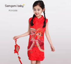 online cheap 2016 chinese new year baby girls red dresses frozen