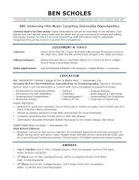 Sample Resumes For Internships College Students Resume A Film Industry Internship