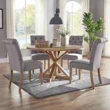 Huntington Grey Linen Button Tufted Dining Chair Set Of 2
