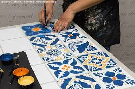 how to stencil a mexican talavera tile table hometalk