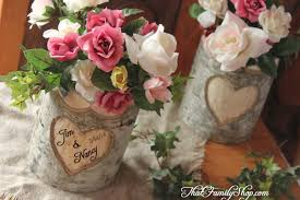 Rustic Wedding Log Flower Pot Vase With Names Date Initials