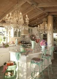 The Chandeliers Give This Cottage Chic Kitchen Wow Factor Home Decor Wind Interior Decorating Ideas