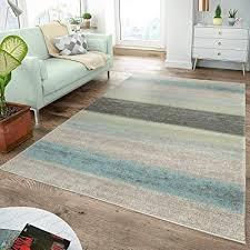 moderner teppich wohnzimmer teppiche breite streifen pastell türkis grün creme größe 70x250 cm