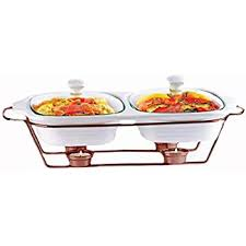 Palais Dinnerware Buffet Double Covered Ceramic Casserole Dish With Warming Rack 2 Dishes