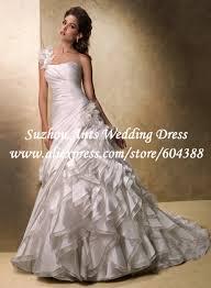 Free Shipping Elegant Pleat Low Back Flower Ruffles A line Wedding