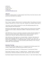 Self Employed Resume Template Welder Sample Objective Welding Inspector Example Certified