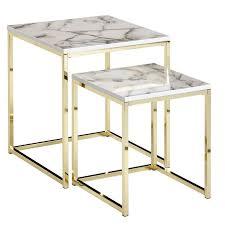 wohnling design beistelltisch 2er set weiss marmor optik eckig couchtisch 2 teilig tischgestell metall gold kleine wohnzimmertische moderne