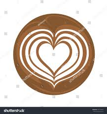 Aflutter Heart Latte Art Coffee Logo Icon With White Background