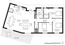 plan maison en l plain pied 3 chambres plan maison plain pied en v