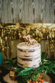 Wise Owl Woodland Styled Naked Party Cake With Deer And Wolf Caketoppers