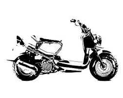 Honda Ruckus Scooter Side View BW Line Drawing Vector Vectorized Print Ultra High Quality