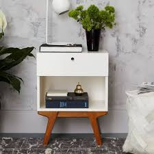 Costway 2PCS End Bedside Table Nightstand Drawer Storage Room Decor WBottom Shelf White