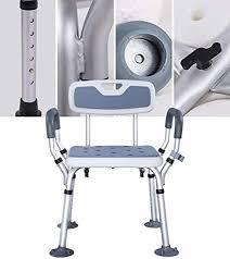 amitd höhenverstellbarer duschstühle aluminium badezimmer stuhl mit rücken und armlehne folding duschhocker für senioren