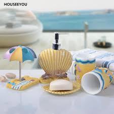 5 teile satz badezimmer zubehör set kinder meer strand shell stil bad produkte sets harz zahnbürste tasse seifenschale