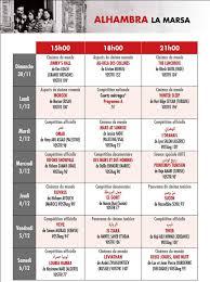jcc 2014 programme détaillé de la projection des à