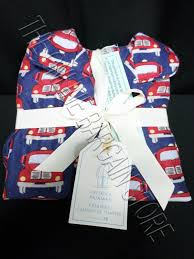 POTTERY BARN KIDS Classic Fire Truck Pajamas Size 10 Blue Vintage ...