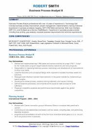 Business Process Analyst III Resume Sample