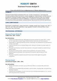 Business Process Analyst III Resume Sample