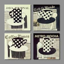 4 Pcs Newspaper Picture Decoration Black White Coffee Polka Dot Cup Canvas Painting Wall Art Living
