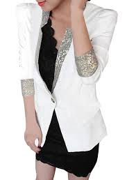 ladies padded shoulders sequins embellished casual blazer at