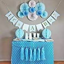 Tissue Pom Poms Baby Blue White Grey Baby Boy Baby Shower