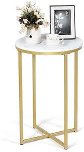 goplus runde sofatisch moderner couchtisch beistelltisch mit gestel eleganter nachttisch mit marmormuster goldfarbener eisenrahmen coffeetable
