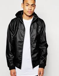 d struct beven faux leather hooded bomber jacket in black for men