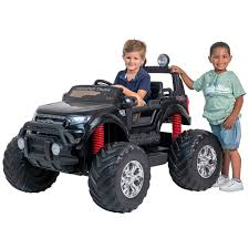 100 Kids Monster Trucks 24V Ford Truck Kids Electric Ride On Car Black Ride On Car 4 Wheel Drive And Rubber Tyres