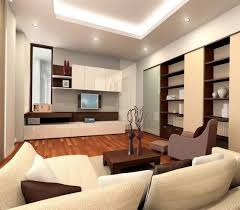 modern minimalist living room design with recessed ceiling light