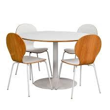 runde esszimmergruppe in weiß eiche merza mit 4 stühlen 5 teilig