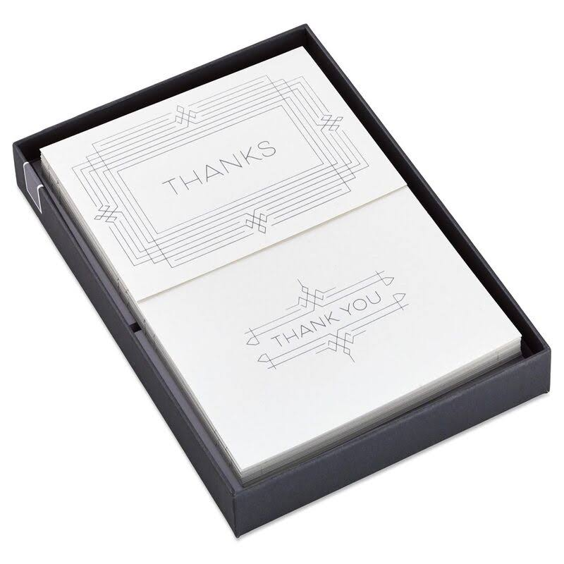 Silver Thanks and Thank You Note Card Set, Box of 40