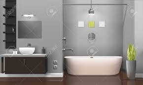 moderne realistische badezimmer innenarchitektur mit weißen sanitäranlagen regale auf graue wand dekorative pflanze vektor illustration
