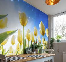 weiße tulpen landschaft blumen fototapete
