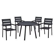 100 Modern Metal Chair Contemporary 5Piece Black Outdoor Dining Set With Slatted Faux Wood And Stackable S