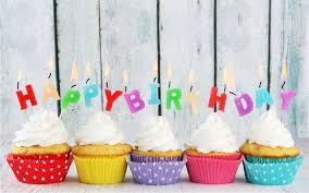 Happy Birthday five cupcakes candles colorful letters cream cake Wallpapers s