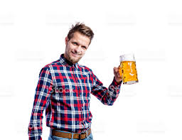 hipster man in checked shirt holding beer studio shot stock photo
