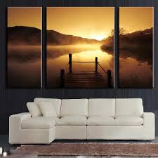 Cheap Living Room Decorations by Cheap Living Room Wall Art Canvas Silhouette Of Sunset Lake