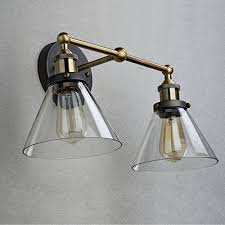 ecopower industrial edison antique glass 2 light wall sconces