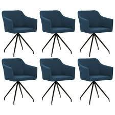 vidaxl drehbare esszimmerstühle 6 stk blau stoff 276058